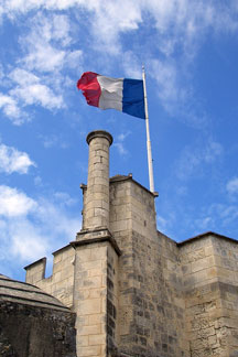 French tricolor flag at the La Rochelle tower